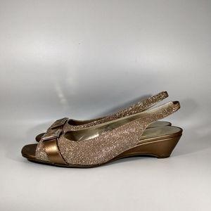 Anne Klein Sport bronze shimmer slingback shoes 10